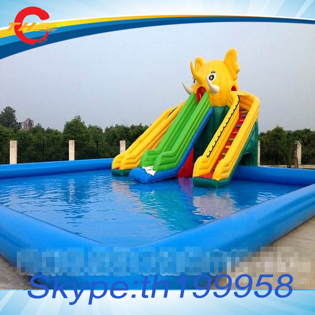 Free Air Shipping To Door,commercial Giant Inflatable Water Slide With  Large Inflatable Swimming Pool, Inflatable Pool Slide