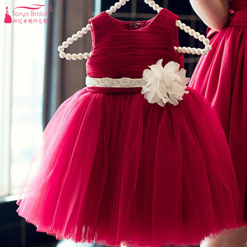 Burgundy Tulle   Flower     Girls     Dress   with Ribbon Elegant Pageant Gowns 2018 Beach Wedding   Flower     Girls   Wear ZF069
