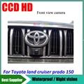 Color del coche vista frontal de la cámara impermeable del CCD HD Coche cámara de aparcamiento para Toyota land cruiser prado 150 vista frontal de la cámara