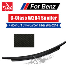 C74 Style For Mercedes Benz W204 C63 4-Door Carbon Fiber Rear Trunk Spoiler 2007-14 C Class C180 C200 C250 C300 C350 C45AMG