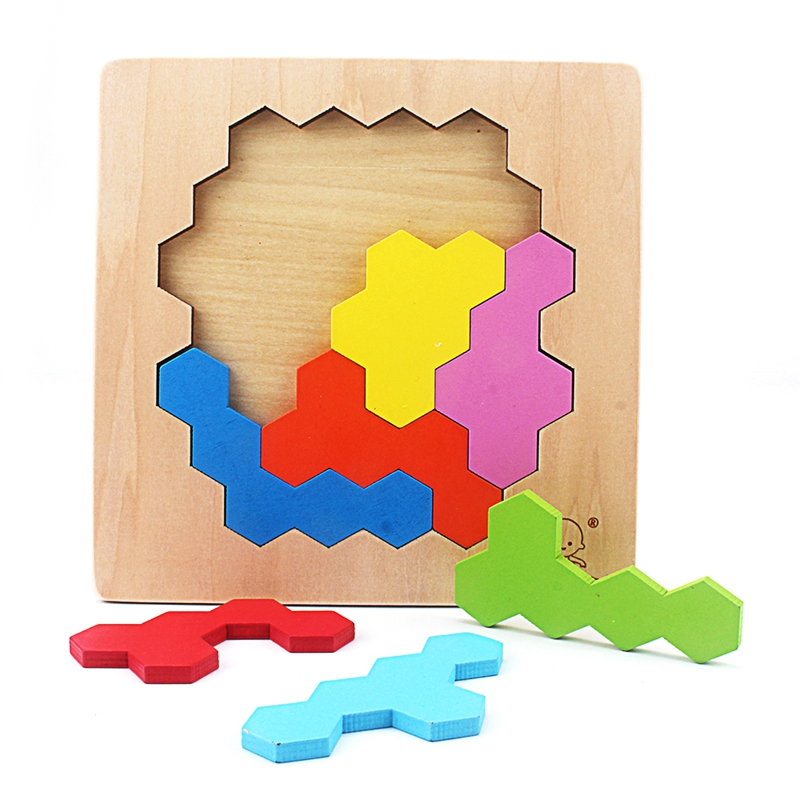 US $6 8 32% OFF|Kids Wood Colorful Hive Puzzle Geometric Shape Puzzles  Wooden Toys Tangram/Jigsaw Board Kids Children Educational Toys for Baby-in
