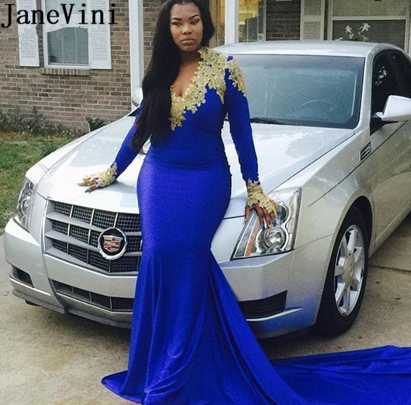 100% QualitäT Janevini Royal Blue Mermaid Prom Kleid Mit Gold Appliques Langen Ärmeln V-ausschnitt Satin Party Kleider Plus Größe 2019 Formale Kleider