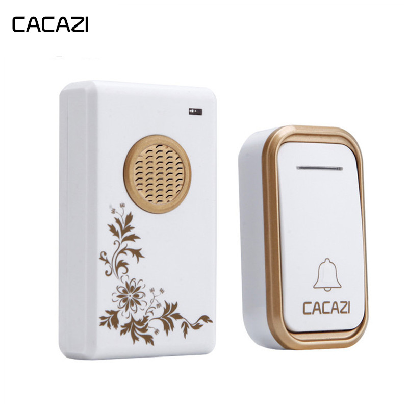 CACAZI Waterproof Wireless Doorbell LED Light EU Plug Home Cordless DoorBell 300 Remote 38 Chimes 1 Battery Button 1 2 ReceiverCACAZI Waterproof Wireless Doorbell LED Light EU Plug Home Cordless DoorBell 300 Remote 38 Chimes 1 Battery Button 1 2 Receiver