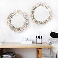 Diameter 40CM boho Macrame hand woven simple home hang up living room wall hanging decorations decorative mirror wall tapestry