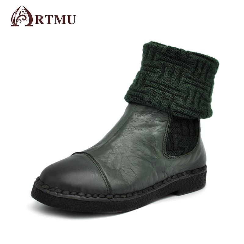 Artmu Fashion Autumn Winter Women Boots Handmade Knitted Chelsea Boots Medium-leg Flat Boots Green Black 2018 Hot