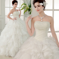Fashion Wedding Dresses Bride Bandage Drill Lace Princess Dress Wrapped Chest New Ball Gown 2015 Wedding
