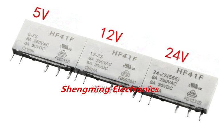 50PCS 5pins HF41F 5 ZS HF41F 12 ZS HF41F 24 ZS 5VDC 12VDC 24VDC 6A 250VAC