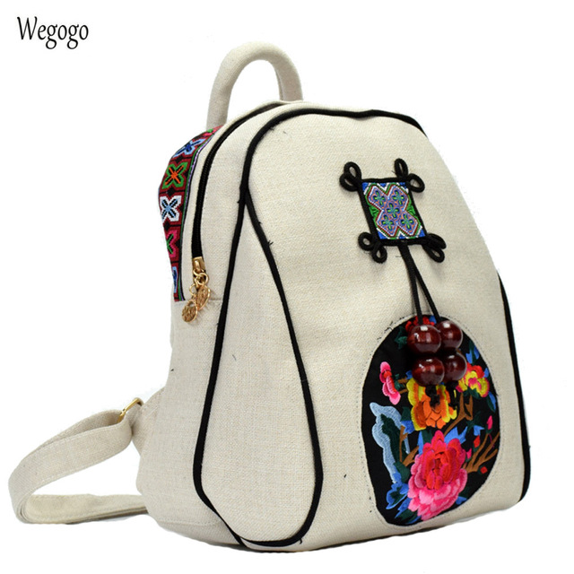 2018 Wome Backpack Ethnic Embroidery Shoulder Bag Handmade Canvas Cloth  Travel Beach Schoolbag Small Woven Rucksack d173581647270