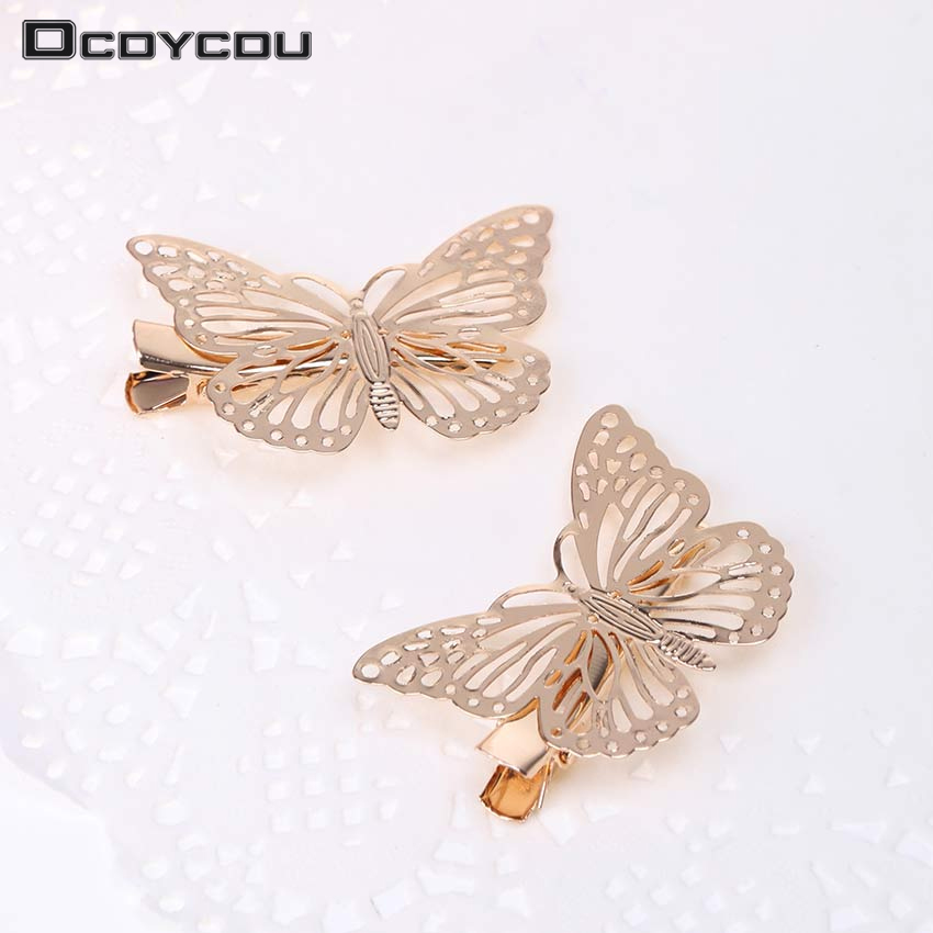 1PC Golden Butterfly Hair Clips Hair Apparel Accessories Barrettes Decor Wedding Jewelry Side Hairpins Headpiece   Headwear