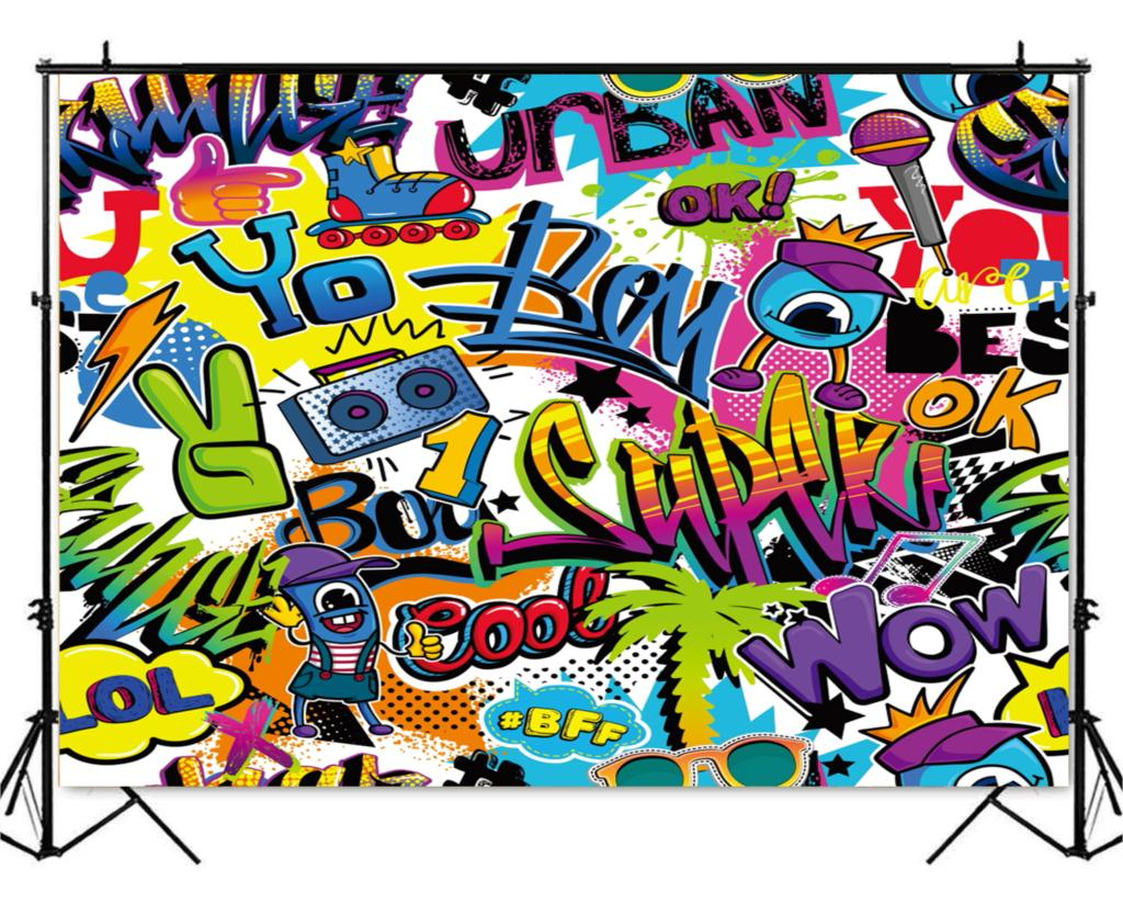 Hip hop graffiti wall backdrop 90s themed party decoration photo background for photography baby shower graduation xt 7160