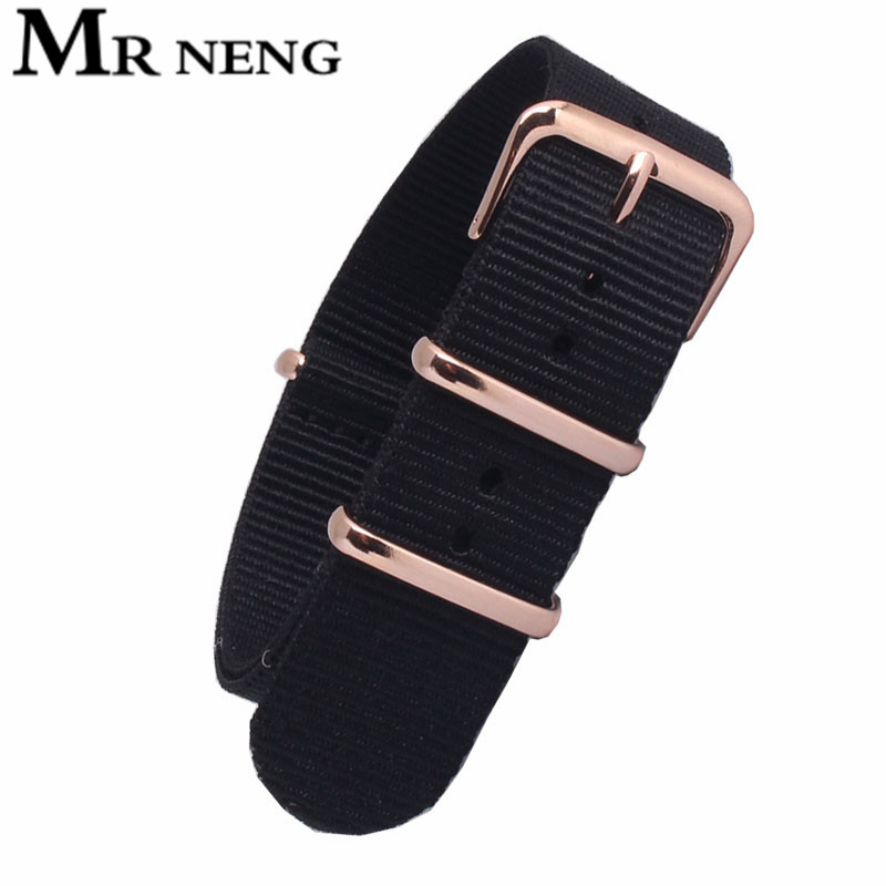 MR NENG Black Watchband 22mm Nato Nylon Strap Watch Band 18mm 20mm Rose Gold Bracelet  Buckle Band For Nan Watch 20mm Belts
