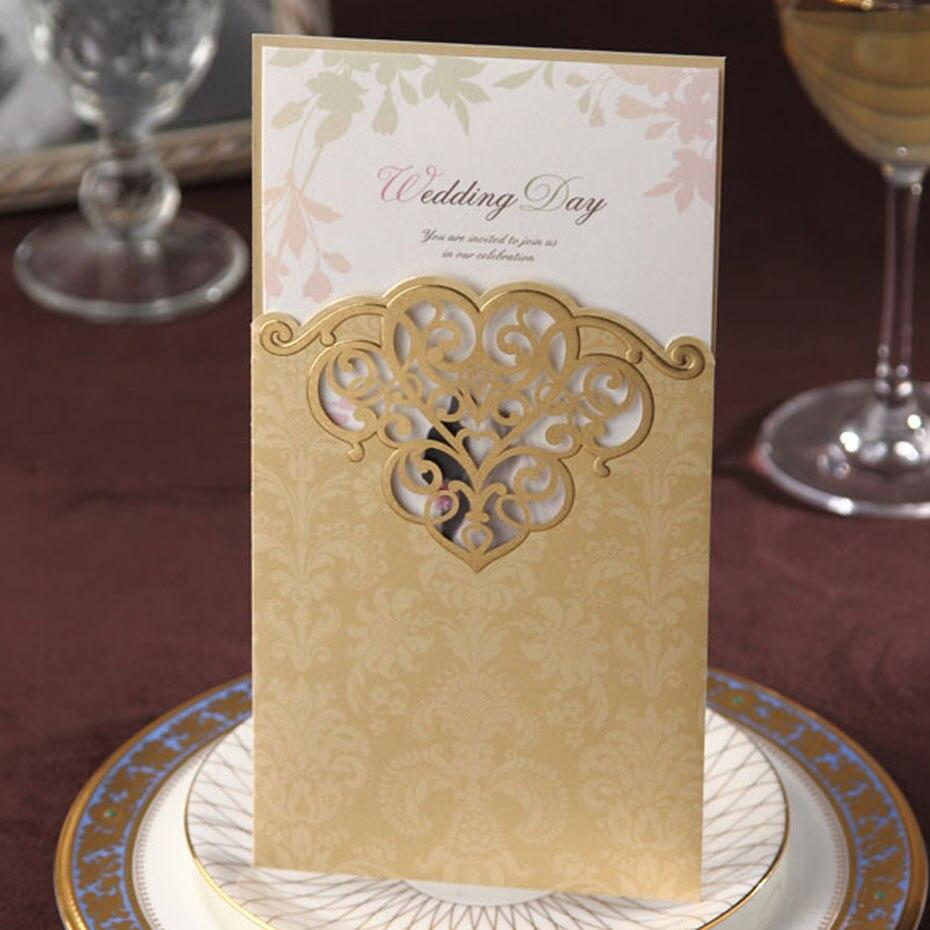 Золото Цвет классические элегантные свадебные приглашения CW2002 для печати и настраиваемый партии пригласительный билет, меню карты