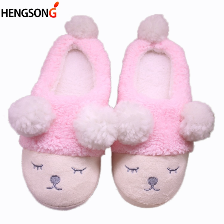 2017 New Women Home Slippers Cute Sheep Animal Slippers For Couple Indoor Bedroom Female Shoes Winter Short Plush Slipper Flats millffy plush slippers squinting little sheep indoor household slippers lambs wool home couple slippers