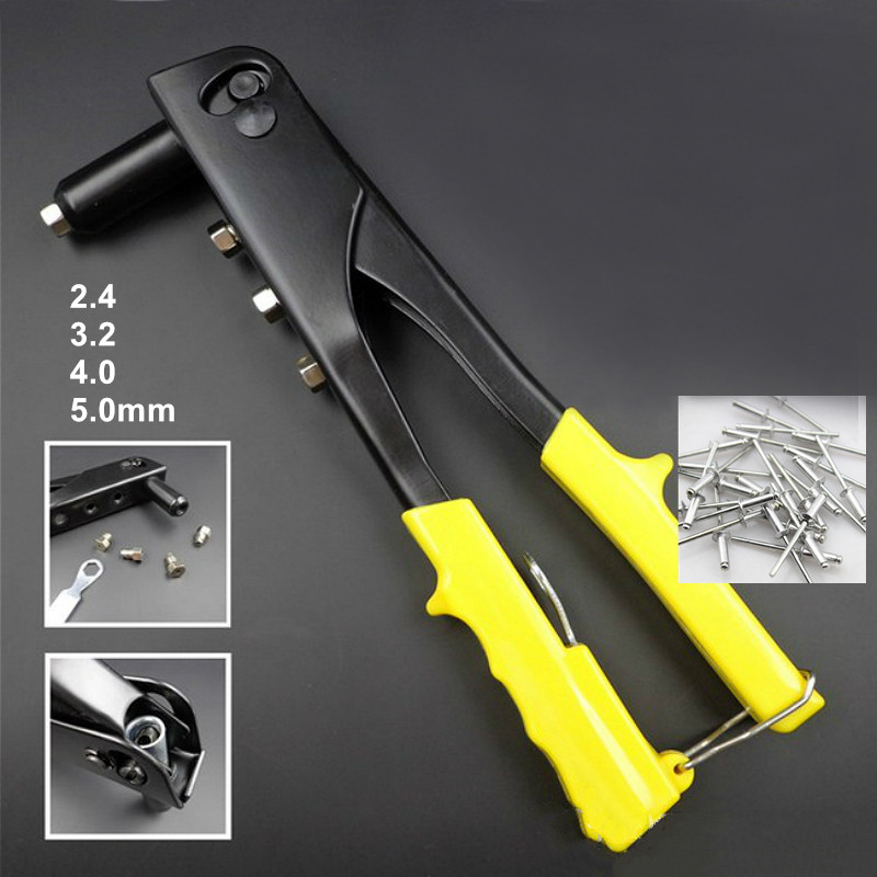 hand riveting gun manual core pulling riveter rivets nail tool with 4 different dies 2.4 to 5mm for leather firber metal plastic