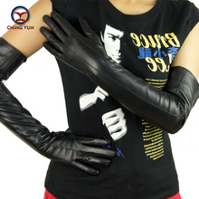 2016 winter lady sewing style sheepskin leather high quality hot sale gloves women genuine mittens long 60cm Glove