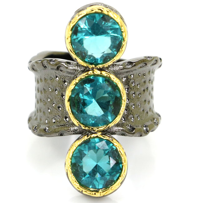 7.5# Sublime Antique Vintage Rich Blue Aquamarine Womans Black Gold Silver Ring 32x21mm