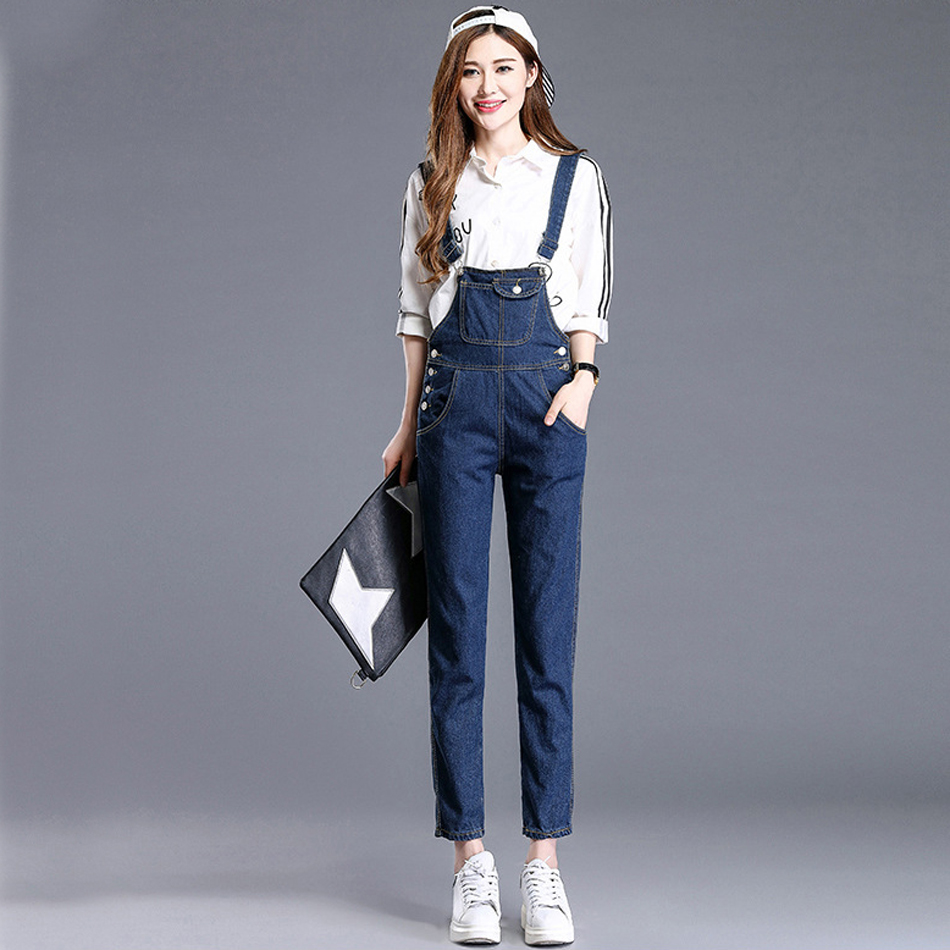 New Spring Denim Overalls Women Vaqueros Long bib Pants Jeans Skinny Overalls Suspender Female Slim Catsuit Bib pants plus size pants the spring new jeans pants suspenders ladies denim trousers elastic braces bib overalls for women dungarees