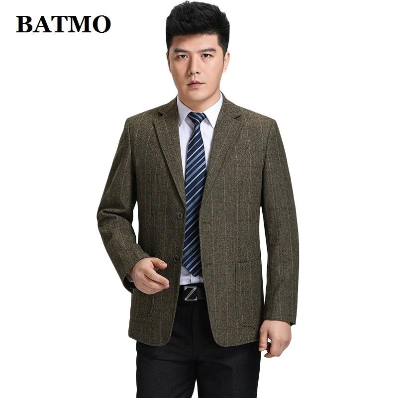 Batmo 2019 new arrival high quality wool smart plaid casual blazer men,men's casual suits,men's jackets plus-size S-3XL 606