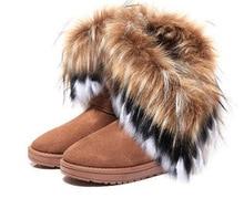 Mujer botas de nieve 2016 de Invierno de piel de zorro de pelo mujeres de arranque de Tobillo botas masculinas femeninas Zapatos Femeninos l012