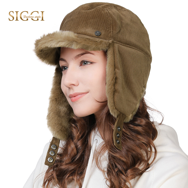 fab5f0007a7 FANCET Winter Warm Faux Fur Bomber Hats For Women Solid Acrylic Russia Hats  Male Ear Flap Protection Adjustable Ushanka 99723
