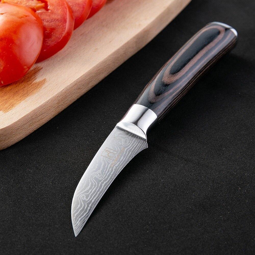 Super Sharp Japanese Damascus 3.5 Inch Peeling Knife Wood Handle