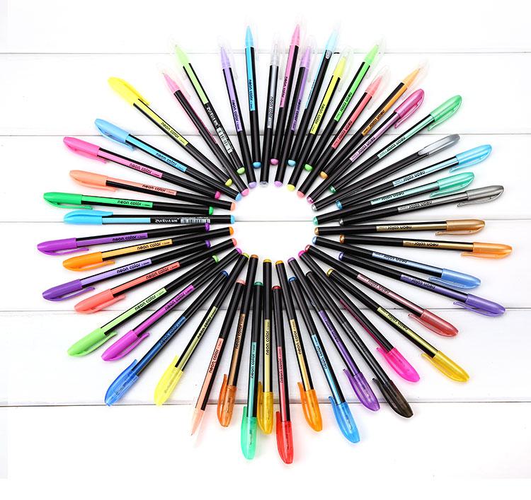 48 Colors Markers Gel Pens Rollerball Pastel Neon Sketch Drawing Color Pen Set