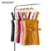 Leather dress women vestidos yellow robe femme vintage mini white dress elegant autumn clothes 2019 streetwear sashes dresses