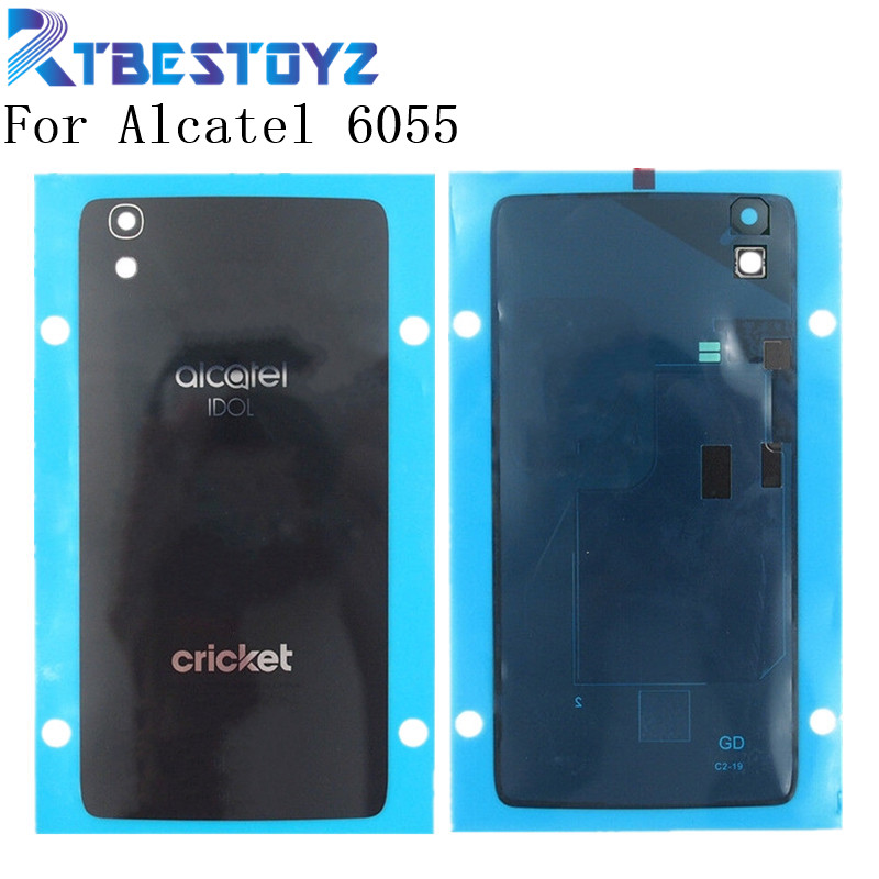 Battery Cover For <font><b>Alcatel</b></font> <font><b>One</b></font> <font><b>Touch</b></font> <font><b>Idol</b></font> <font><b>4</b></font> <font><b>6055</b></font> OT6055 6055K 6055B 6055Y Battery Door Housing Phone Glass Case With NFC image