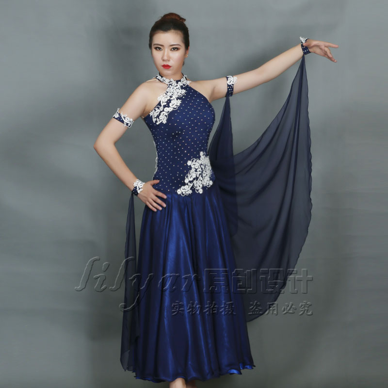 new lady ballroom dance large swing dress Navy embroidery Waltz dresses for girl