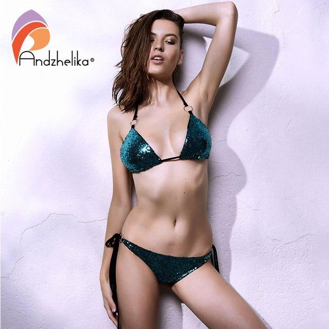 Andzhelika Купальник с пайетками раздельный пляж блестящий плавание бикини пайетки купальник женский