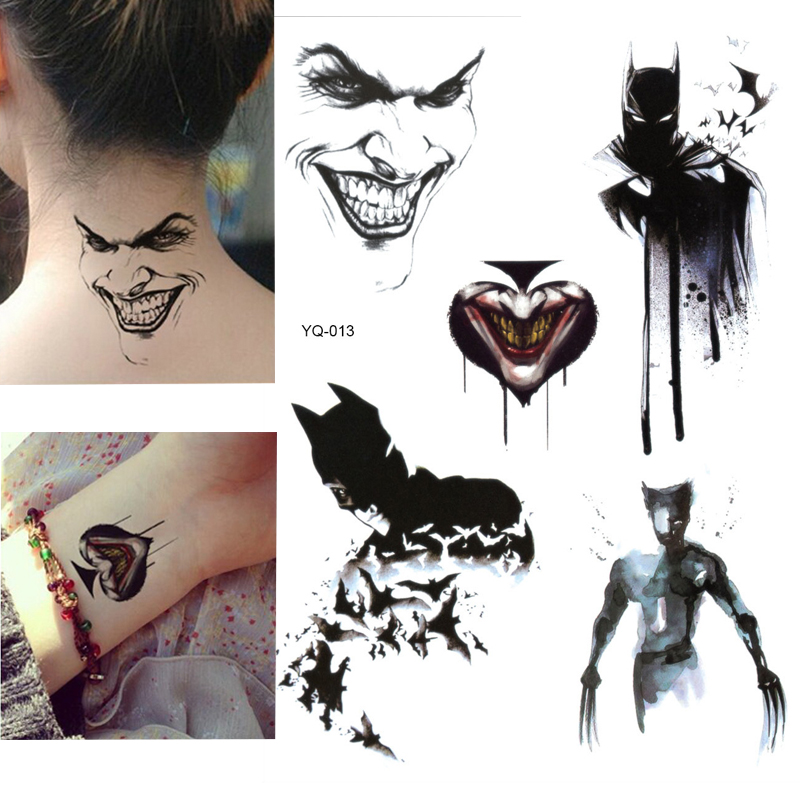 Batman Temporary Tattoo Stickers For Kids Boys Superheros Union Fake Flash Waterproof Tattoo