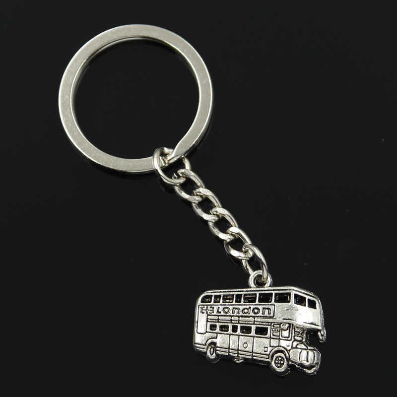 new fashion men 30mm keychain DIY metal holder chain vintage London bus car 20x25mm silver pendant Gift