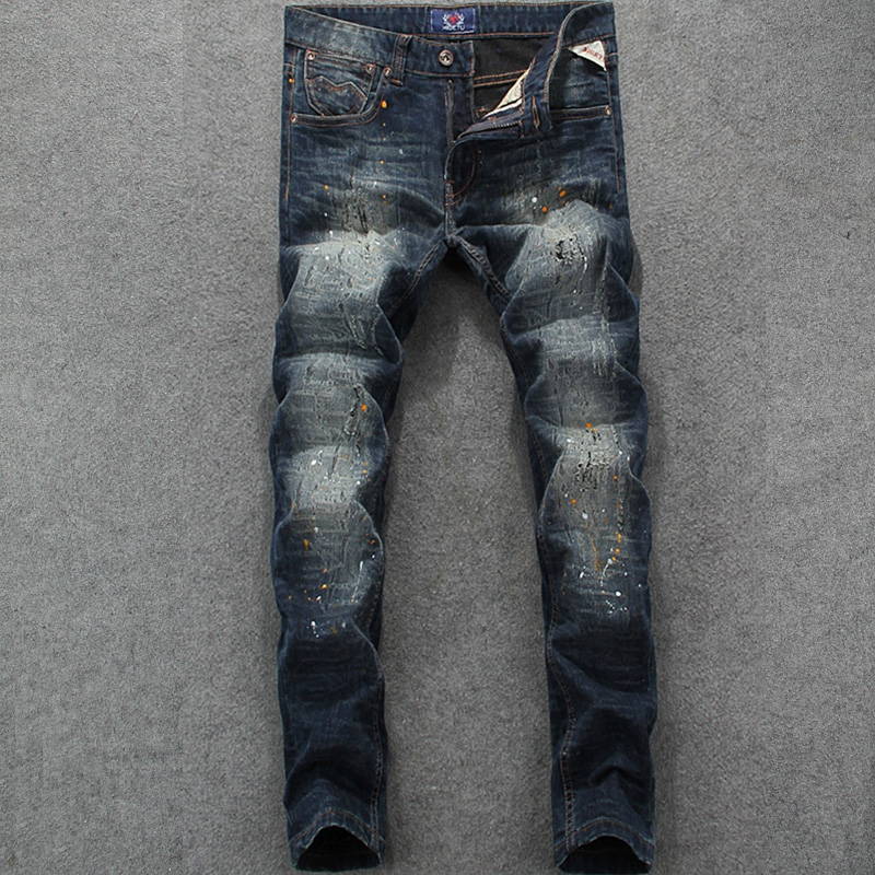 цена на Italian Designer Men Jeans Slim Fit Denim Destroyed Ripped Jeans Mens Pants Vintage Dirty Process Brand Stripe Jeans Full Length