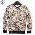 Mr.1991INC Nueva moda Hombres/Mujeres Hoodies 3D impreso dinero dólares tops sudaderas casual sudaderas 3d