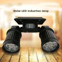 ICOCO Waterdicht Auto Zonne-energie 14 LEDs Pir Sensor Light Dual Heads Draaibaar Spotlight Yard Tuin Landschap Lamp