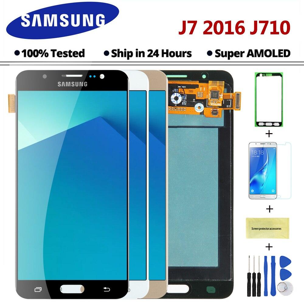 AMOLED Capteur Remplacer LCD Pour SAMSUNG Galaxy J7 2016 J710 J710FN J710F J710M J710Y J710G LCD Affichage Tactile Digitizer Écran
