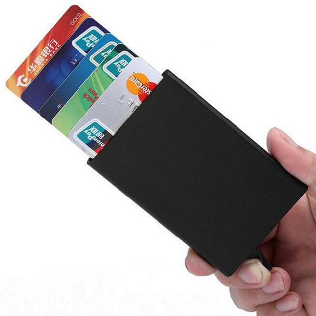 Quality Stainless Steel Credit Card Holder Men Slim Anti Protect Travel ID Cardholder Women Rfid Wallet Metal Case Porte Carte 2