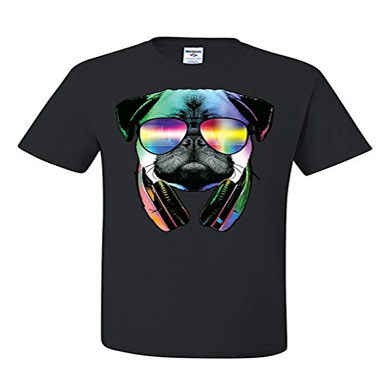 T Shirt Fashion Funny Pug DJ In Sunglasses And Headphones T-Shirt Neon Music Tee Shirt T-shirt New Arrivals Tees