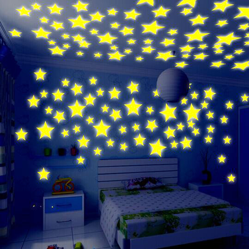 50Pcs Kids Bedroom Energy Storage Fluorescent Glow In The Dark Stars Wall Stickers Baby Rooms Home Party Decoration Free Glue