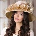 Champagne mujeres del verano elegante kentucky derby sombreros para las para mujer sombreros de fiesta