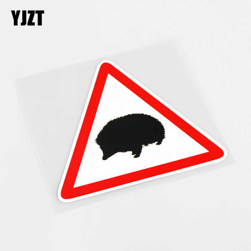 YJZT 11 CM * 9.4 CENTÍMETROS Engraçado Aviso Mark Animal Hedgehog Decalque Etiqueta Do Carro PVC 13-0824