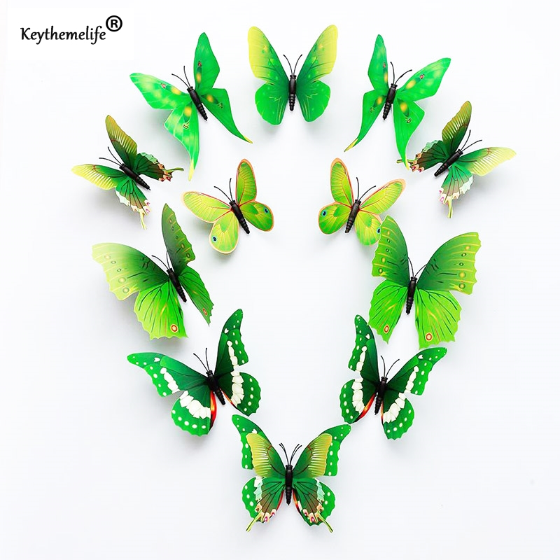 ᐂKeythemelife Adhesivos de pared 3D mariposas mariposa verde ...
