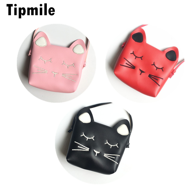 2017 New Arrival Children Cat Embroidery Messenger Bag Baby Girls Cat Ear Coin Purse Red Cute Decoration Bags for kids Gifts
