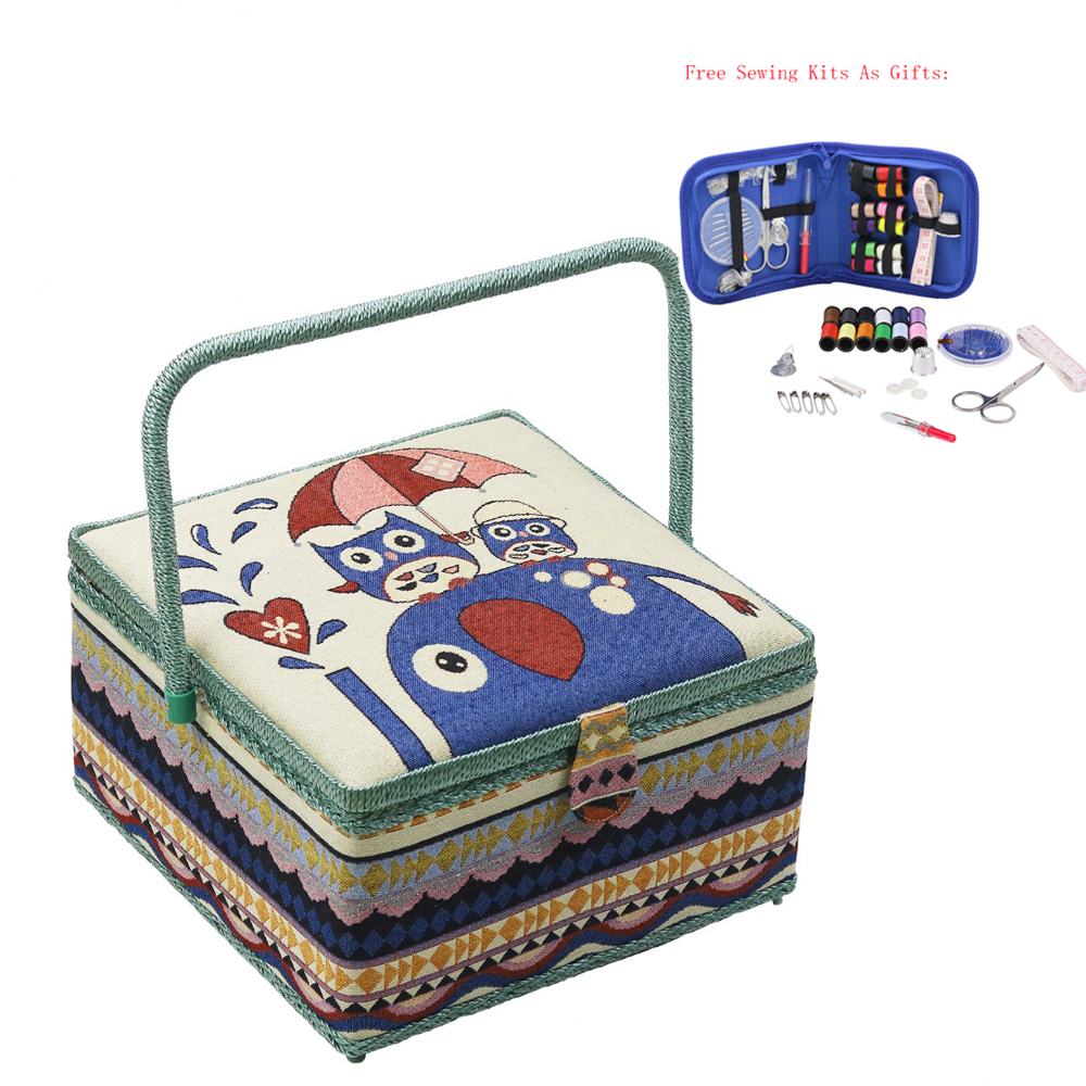 Big Sewing Kits Sewing Box Fabric Sewing Storage Basket With Free Sewing Accessories Fabric Wooden Craft