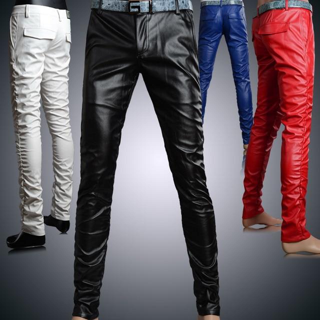 46163f57e 2015 Winte Nuevo Estilo de personalidad Masculina de cuero ceñida masculino  delgado negro PU pantalones de cuero masculinos MB269 en Pantalones ...