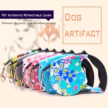 All Seasons Pet Automatic Retractable Leashes Dog and Cat Are Suitable for Traction Rope Printing Design Nylon Pull