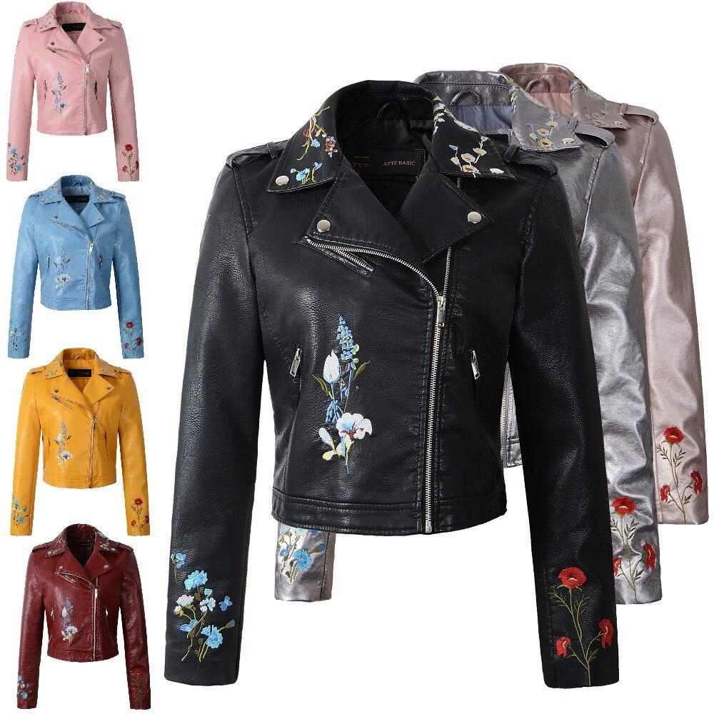 Women Faux Leather Jacket Embroidery Biker Jackets Aviator Coat New Short  Motorcycle Coats With Belt Female