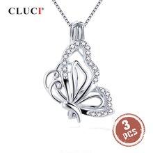 CLUCI 3 sztuk 925 ze srebra wysokiej próby z cyrkonią motyl Charms wisiorek srebrny 925 wisiorek dla kobiet dzień matki prezent biżuteria SC359SB