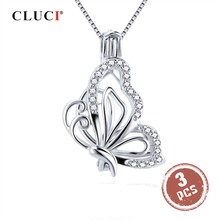 CLUCI 3pcs 925 Sterling Silver Zircon Butterfly Charms Pendant Silver 925 Pendant for Women Mothers Day Gift Jewelry SC359SB