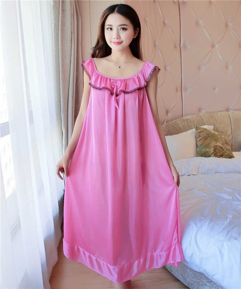 96c7f648ca ... Women Nightgowns Silk Satin long Night Dress Sexy Spaghetti Strap  V-Neck Lace Home Dress ...